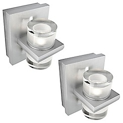 Litecraft - Philips Pack of 2 InStyle Darius LED Metal & Glass Wall Light - Aluminium