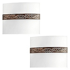 Litecraft - Philips Pack of 2 myLiving Livu Glass Wall Light - Brown