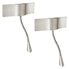 Litecraft - Philips Pack of 2 InStyle Probo LED Wall Light with Spotlight - Matt Chrome