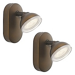 Litecraft - Philips Pack of 2 myLiving Toscane LED Single Spotlight - Bronze