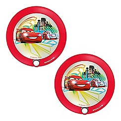 Litecraft - Philips Pack of 2 Disney's Cars Wall Night Light with PIR Sensor