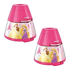 Litecraft - Philips Pack of 2 Disney Princess Children's Projector Night Light Table Lamp