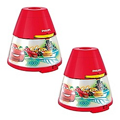 Litecraft - Philips Pack of 2 Disney's Cars Projector Night Light Table Lamp