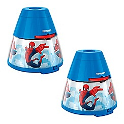 Litecraft - Philips Pack of 2 Spiderman Children's Projector Night Light Table Lamp