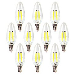 Litecraft - 10 Pack of 4 Watt E14 Small Edison Screw LED Decorative Filament Light Bulb - Warm White