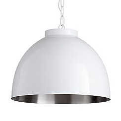 Litecraft - Work 1 Light Ceiling Pendant - Satin Nickel & White