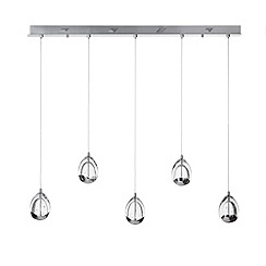 Litecraft - Tegg 5 Light Ceiling Pendant Light Bar - Chrome