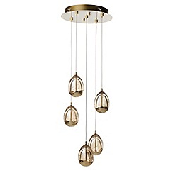 Litecraft - Tegg 5 Light LED Spiral Cluster Ceiling Pendant Light - Gold