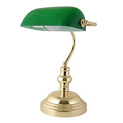 Litecraft - Checkers 1 light green task lamp in Brass