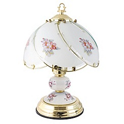 Litecraft - Pulag 1 light touch sensitive pink flower design table lamp in Brass