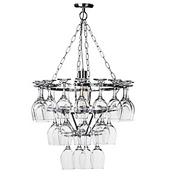 Litecraft - 1 Light 3 Tier Wine Glass Chandelier with 28 Glasses - Silver