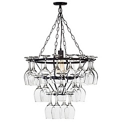 Litecraft - 1 Light 3 Tier Wine Glass Chandelier with 28 Glasses - Black