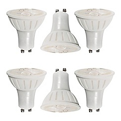 Litecraft - 6 Pack of 6 Watt GU10 Dimmable LED Light Bulb - Cool White Daylight