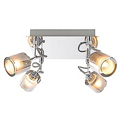 Litecraft - Cordelia 4 Light Square Ceiling Spotlight Plate - Chrome