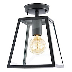Litecraft - Rockford Outdoor 1 Light Flush Tapered Square Lantern - Black