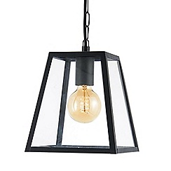 Litecraft - Rockford Outdoor 1 Light Tapered Square Hanging Lantern - Black