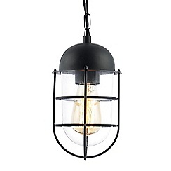 Litecraft - Cara Outdoor 1 Light Caged Hanging Lantern - Black