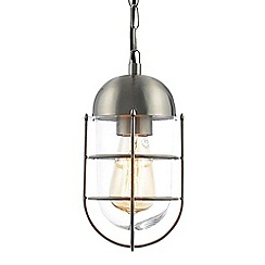 Litecraft - Cara Outdoor 1 Light Caged Hanging Lantern - Steel