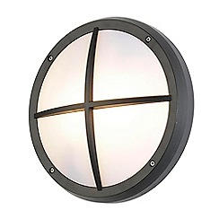 Litecraft - Johan Circular Outdoor Bulkhead Wall Light with Grid - Black