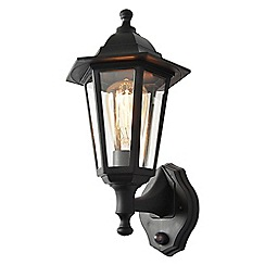 Litecraft - Neri Outdoor Polycarbonate Up & Down Wall Lantern with PIR Sensor - Black