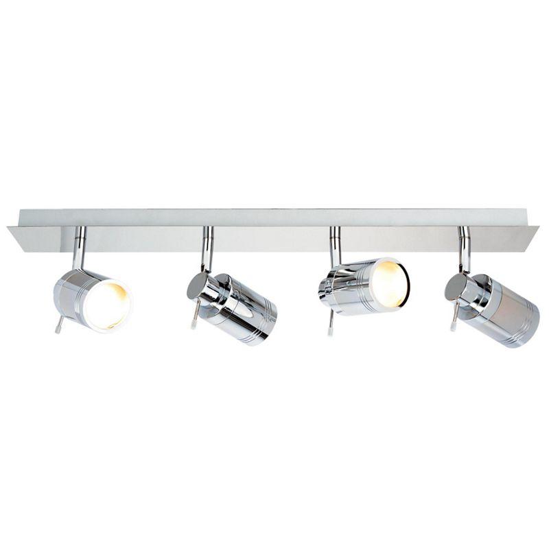Litecraft Hugo 4 Light Bathroom Ceiling Spotlight Bar, Grey