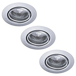 Litecraft - Opal Circular Adjustable Recessed Downlight 3 Pack - Brushed Steel