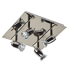 Litecraft - Blackwood 4 Light Ceiling Spotlight Plate - Black & Chrome