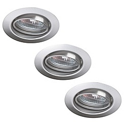 Litecraft - Private Circular Adjustable Recessed Downlight 3 Pack - Brushed Steel