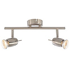 Litecraft - Renley 2 Light Ceiling Spotlight Bar - Satin Nickel