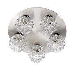 Litecraft - Wire Ball 5 Light Circular Flush Ceiling Light - Satin Chrome