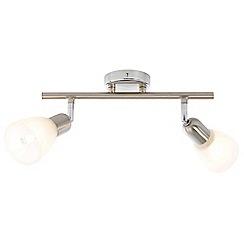 Litecraft - Rousse 2 Light Ceiling Spotlight Bar - Satin Nickel