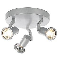 Litecraft - Foxe Die Cast Triple Ceiling Silver Spotlight Plate