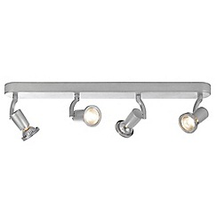 Litecraft - Foxe Die Cast 4 Light Ceiling Silver Spotlight Bar
