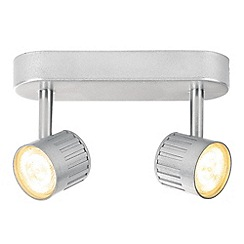 Litecraft - Travis Die Cast Ribbed LED Twin Silver Spotlight Bar