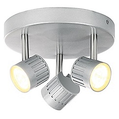 Litecraft - Travis Die Cast Ribbed LED Silver Triple Spotlight Plate