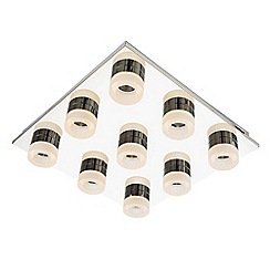 Litecraft - Calore 9 Light LED Square Flush Bathroom Ceiling Light in Chrome