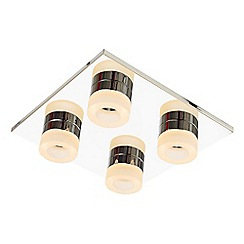 Litecraft - Calore 4 Light LED Square Flush Bathroom Ceiling Light in Chrome