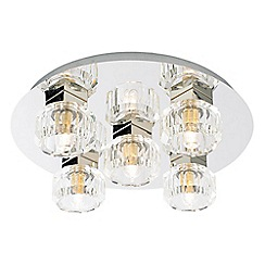 Litecraft - Octagon 5 Light Flush Circular Ceiling Light - Chrome & Glass