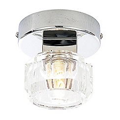 Litecraft - Octagon 1 Light Circular Single Spotlight Ceiling Light with Chrome & Glass