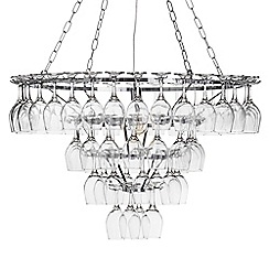 Litecraft - 4 Tier 1 Light 60 Wine Glass Chandelier - Chrome