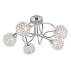 Litecraft - Gem Ball 5 Light Twist Semi Flush Chrome Ceiling Light