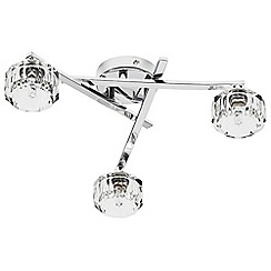 Litecraft - Lynton 8 Sided 3 Light Faceted Glass Pendant - Chrome