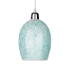 Litecraft - Tate Crackle Glass Easy to Fit Ceiling Light Shade - Teal Blue