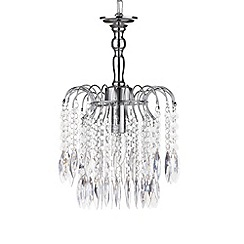 Litecraft - Waterfall 1 Light Crystal Effect Chandelier - Chrome