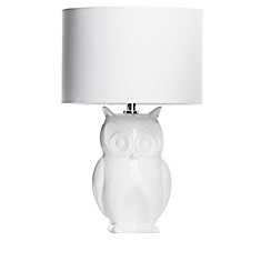 Litecraft - Owl 1 Light Table Lamp with Shade - White