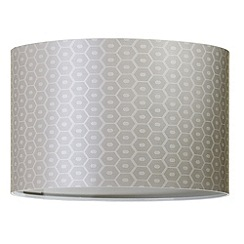 Litecraft - Deco Hexagon Pattern Easy to Fit Drum Shade - Silver