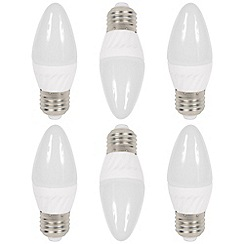 Litecraft - 6 Pack of 3 Watt E27 Edison Screw LED Candle Light Bulb - Cool White
