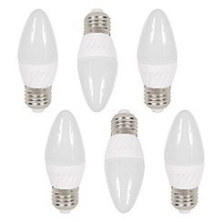 Litecraft - 6 Pack of 3 Watt E27 Edison Screw LED Candle Light Bulb - Warm White