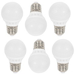 Litecraft - 6 Pack of 3 Watt E27 Edison Screw LED Mini Globe Light Bulb - Warm White