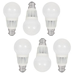 Litecraft - 6 Pack of 7 Watt B22 Bayonet Cap LED GLS Light Bulb - Cool White